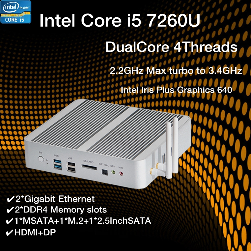 New KabyLake Intel Core I5 7260U 3.4GHz Fanless Mini PC Optical Port 2*lan Intel Iris Plus Graphics 640 DDR4 Barebone Computer