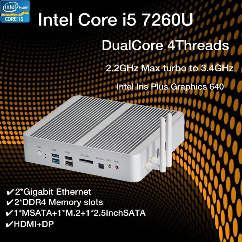 Nouveau KabyLake Intel Core i5 7260U 3.4GHz Mini PC sans ventilateur port optique 2 * lan Intel Iris Plus graphique 640 DDR4 Barebone ordinateur