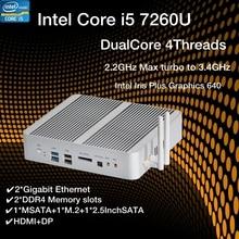 Novo kabylake intel core i5 7260u 3.4ghz fanless mini pc porta óptica 2 * lan intel iris mais gráficos 640 ddr4 computador barebone