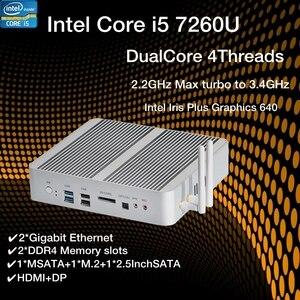 Image 1 - Novo kabylake intel core i5 7260u 3.4ghz fanless mini pc porta óptica 2 * lan intel iris mais gráficos 640 ddr4 computador barebone