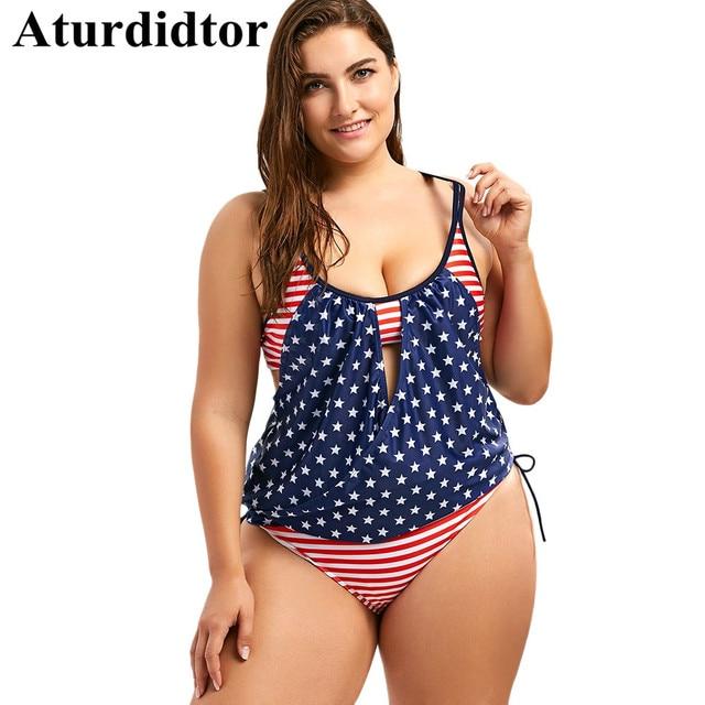 4af361231007d3 Plus Size Tankini Set Patriotic American Flag Blouson Swimwear Large Sizes  Backless Bathing Suits Swimsuit Women Plus Size 5XL