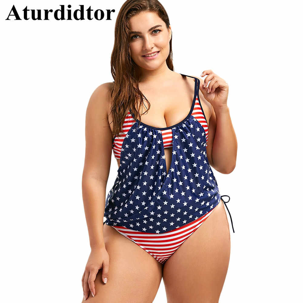 8be09f7924102 Detail Feedback Questions about Plus Size Tankini Set Patriotic American  Flag Blouson Swimwear Large Sizes Backless Bathing Suits Swimsuit Women  Plus Size ...