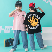 Big Boys Sport Suit Plus Size Summer Loose T-shirt Jeans Trousers 2pcs Clothes Set for Streetwear Girls OK Print Hip Hop Sets