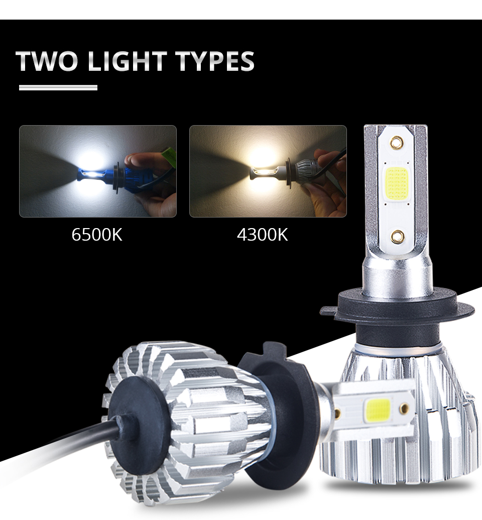 Foxcncar New 2PCS H7 4300K LED H4 6500K Car Fanless Headlight COB 5000LM 50W 12V 24V 1 year warranty H1 H11 H8 9005 9006 HB3 HB4 (3)