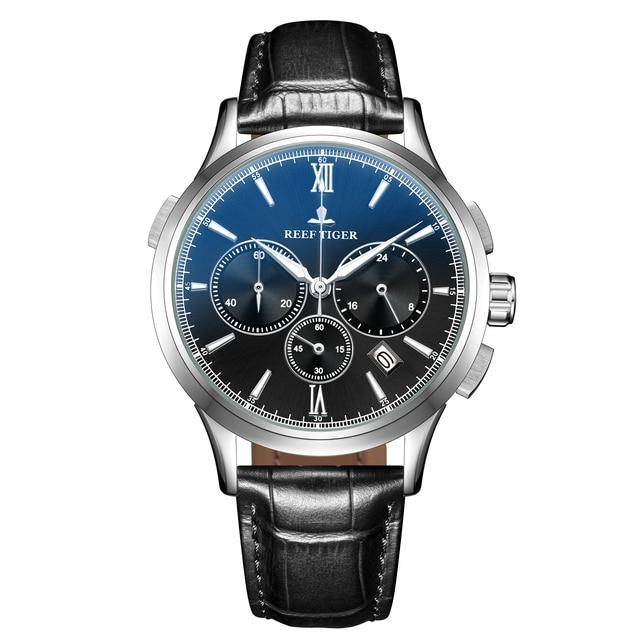 2021 Reef Tiger/RT Top Brand Luxury Date Men Watch Black Dial Steel Black Leather Strap Chronograph Quartz Watches RGA1669 6