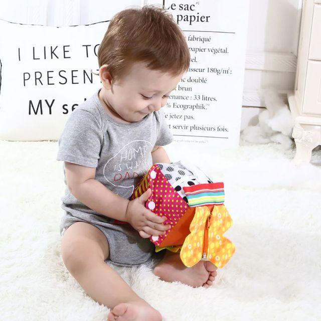 Nuevo Bebé juguete educativo temprano bebé aprendizaje Montessori juguete paño aprender a vestir Cubo de peluche sonajero juguetes educativos para niños pequeños