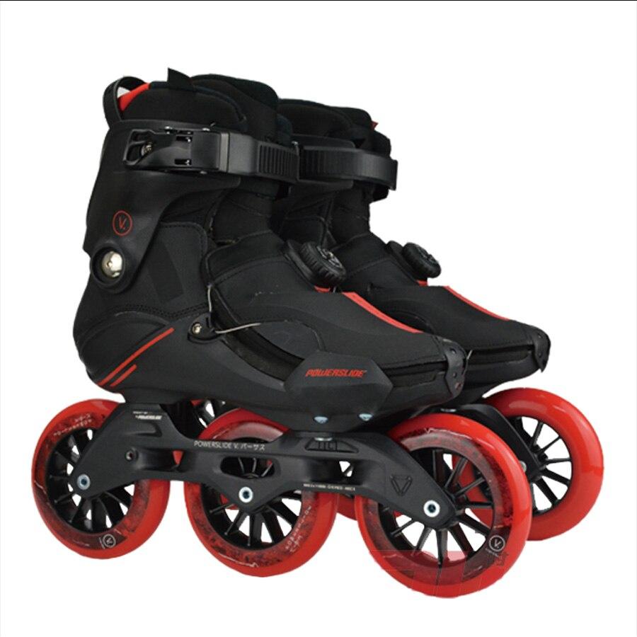 Patinage Japy POWERSLIDE V trinité patins à roues alignées 3*110mm Virus professionnel patins de loisirs de rue Patines de patinage libre