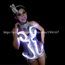 New Design Led Luminous Vest Bra Belt Ballroom Women Costume Suit Sexy Lady Dancing Nightclub Party