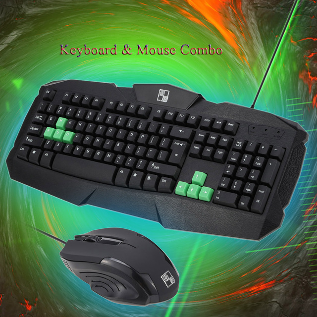 Wired 104 Key Ergonomic Esport Gaming Business Office PS/2 Keyboard Optical USB Mouse Mice Combo for PC Desktop Computer
