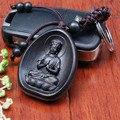 Горячая 1 шт. llaveros Творческой Личности Ключи от машины Кулон Дерево Мода Черный Амитабха Будды резьба Буддийский Брелок Держатель