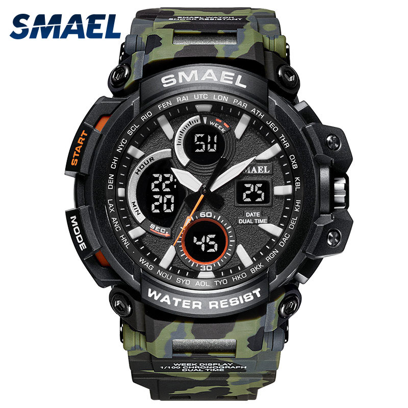 New Military Camo Watch Army Green SMAEL Men Watches Sport Waterproof relogio Army Watch Strap1708B Quartz Watches Stainless Man smael 1708b