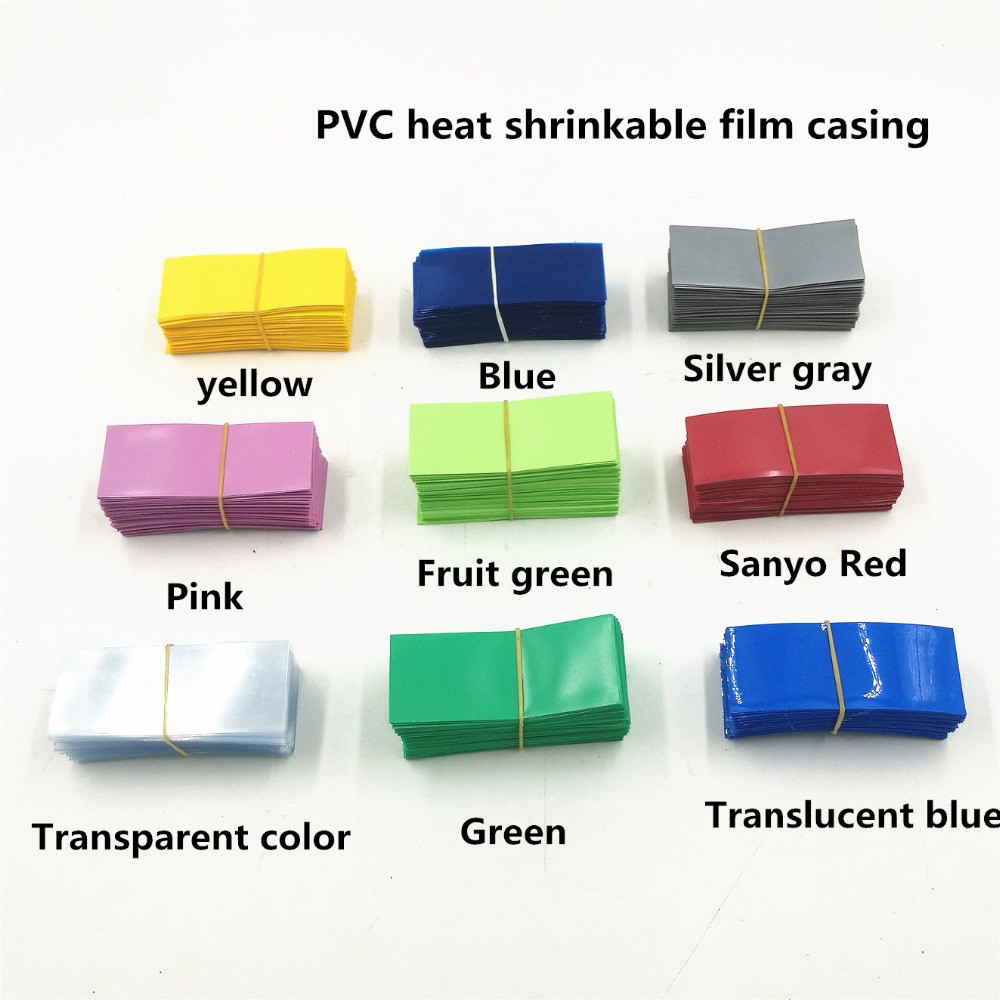 20PCS Li-ion 18650 Battery Wrap PVC Heat Shrink Tubing Precut 7 Color Choice Size 30*75mm Battery Film Tape Battery Cover