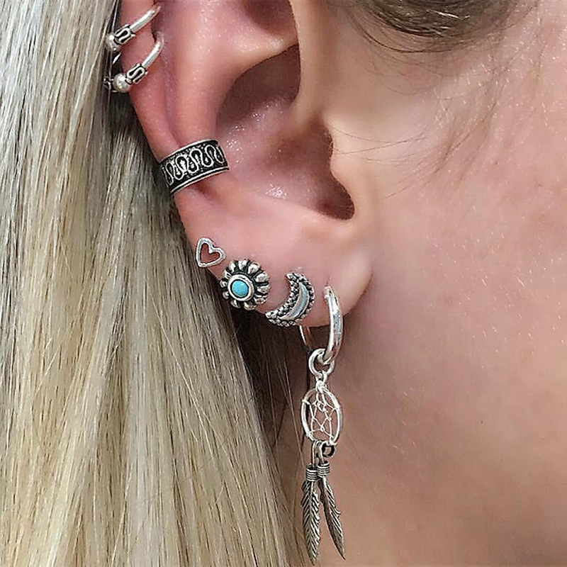 7 pcs/set Ethnic Bohemia Silver Color Jewelry Ear Clip Stud Earring Sun&Heart&Moon&Leaves Earrings Set For Women 2018 Hot Sales