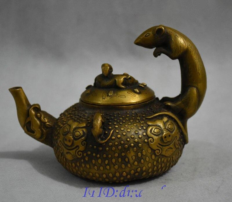 Noël 6 classique chinois Bronze richesse 5 souris bête tête Statue théière vin Pot Flagon halloween