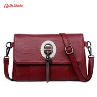 Cloth Shake Summer New Women Handbag Solid Color PU Leather Hasp Shoulder Woman S Fashion Messenger
