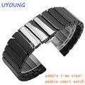 Tempo de qualidade cerâmica mens pulseira 22mm para pebble aço/smart watch band luxury smart watch strap pulseira