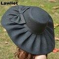 Ropa de Verano Para Mujer Derby de Kentucky de Ala Ancha Dom Sombrero de La Iglesia de La Boda mar Playa Sombreros para Las Mujeres Floppy Sombrero de Las Señoras con Niza BowA047