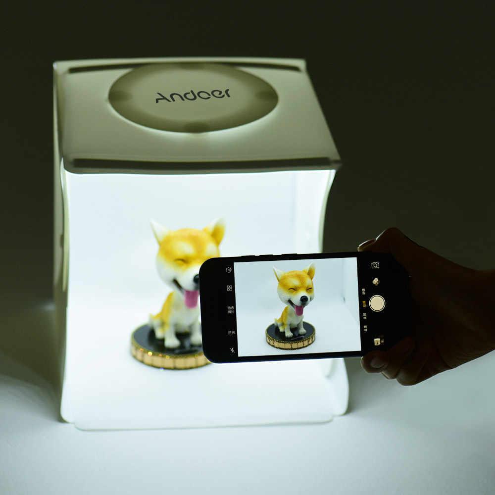 40 LED 6500K Mini Lipat Lightbox Fotografi Studio Softbox 2 Lampu LED Panel Lembut Box Foto Latar Belakang Kit untuk kamera DSLR
