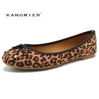 Ayakkabı kadın balerin bale flats Leopard süet Yuvarlak toe papyon Düğüm KANGMIER ile sonbahar bahar rahat moda