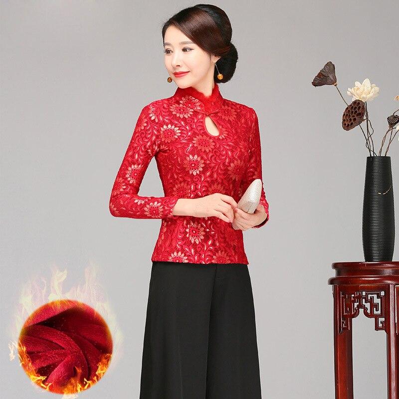 Elegant Fur Collar Chinese National Women Shirt Autumn Thicken Blouse Slim Vintage Warm Flower Tang Clothing Plus Size 4XL