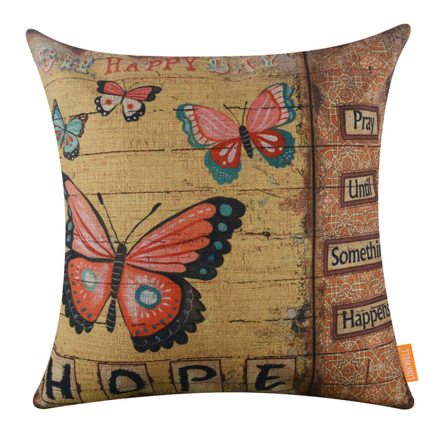 LINKWELL 45X45cm 1PC Sofa Home Decor Throw Pillow Case Decorative Burlap  Cushion Cover Yellow Butterfly Oh