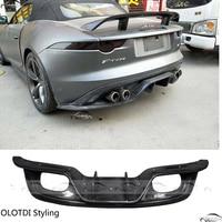 Car Styling for Jaguar F type 2013 2016 Carbon Fiber Rear Lip Bumper Diffuser 4 Exhaust Tips Outlet
