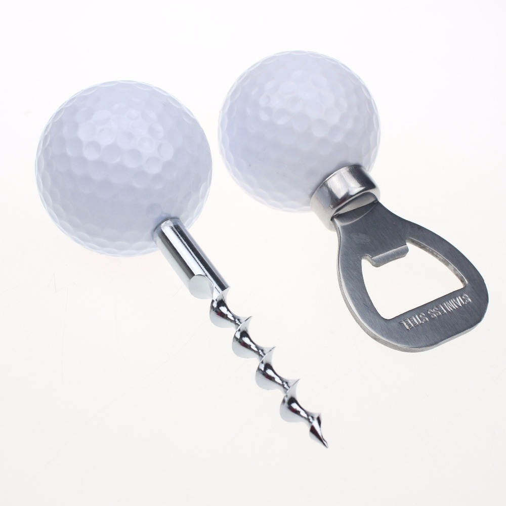 6 Sets lot Golf Ball Shaped Bottle Opener Corkscrew Wine and Beer Opener Golfer Beer Novelty