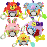 Baby hand ball toy can bite baby hand grab rattle ball baby child cloth ball toy multi function cartoon plush toy