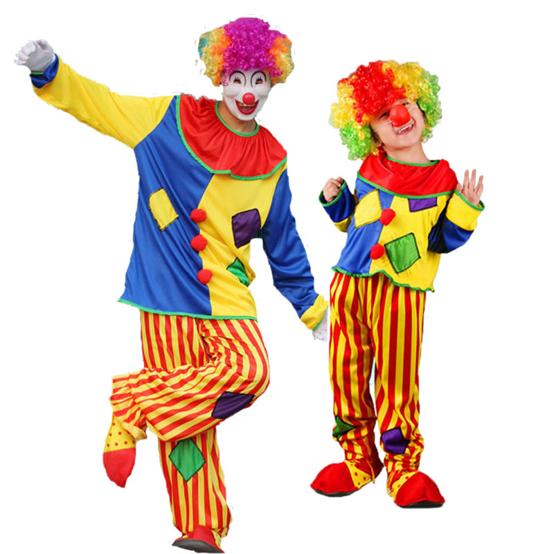 Umorden Halloween Carnival Party Costumes Family Matching Circus Clown Costume Cosplay Patched Clothes For Men Women Girls Boys