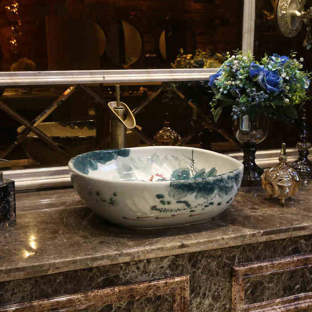 Lotus Square Jingdezhen Ceramic Art Countertop Wash Basin Bowl For Bathroom Sinks Patterned Sink