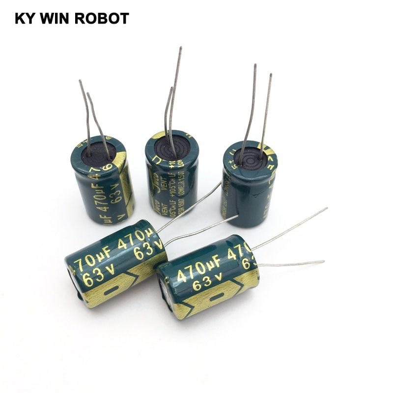 10 Pcs Aluminum Electrolytic Capacitor 470 UF 63 V 13 * 20 Mm Frekuensi Tinggi Radial Electrolytic Kapasitor