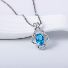 Real 925 Silver Blue Topaz Pendant Necklace Gemstone Stone Sterling Silver Jewelry for Women's Valentine's Best Gift 2019 New(China)