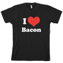 I Love Bacon - Mens T-Shirt Breakfast Food 10 Colours FREE UK P&P Print T Shirt Short Sleeve Hot Tops Tshirt Homme