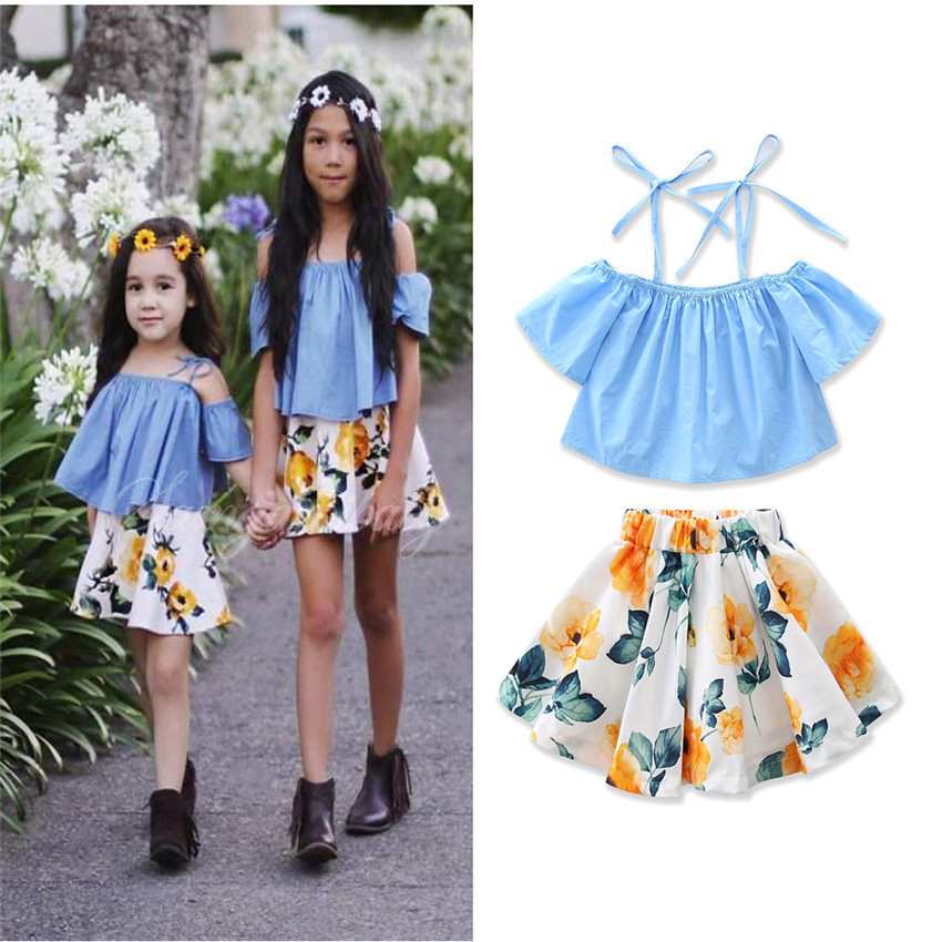 Girls Childrens Clothing Sets Summer Suspender Tops Lemon Skirts 2Pcs Set Cotton Girl Kids Apparel Boutique Clothes Outfits