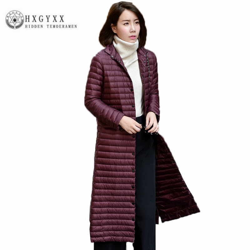 2018 New Winter Women Down jacket High quality Thin Long Outerwear Long sleeve Stand collar pure color Slim Wadded jacket ZX0081