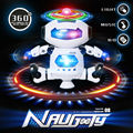 360 ratation dancing electronic walking musical stunt robot with colorful  light,children's action figure smart toys best gift