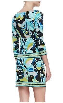 Neue 2014 Italienischen Designer Luxusmarken frauen 3/4 Ärmeln Grüne Abstrakte Druck XXL Stretch Jersey Kleid Freies Verschiffen-in Kleider aus Damenbekleidung bei  Gruppe 2