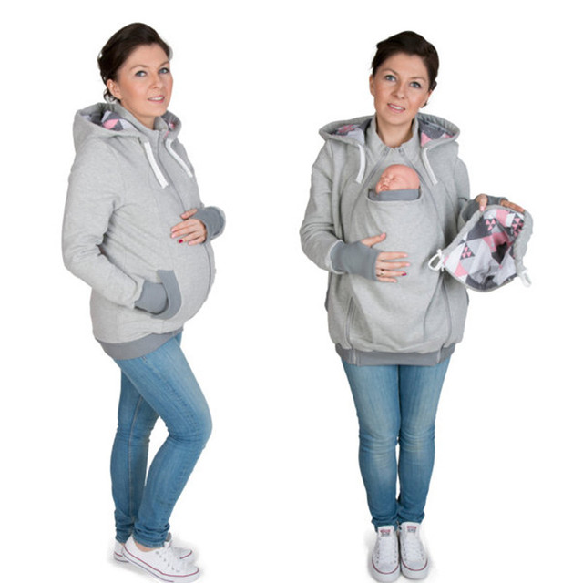2016 Fashion 3 In 1 Women Baby Hoodies Geometric Printed Kangaroo Winter Maternity Baby Carrier Jackets For Pregnant Women