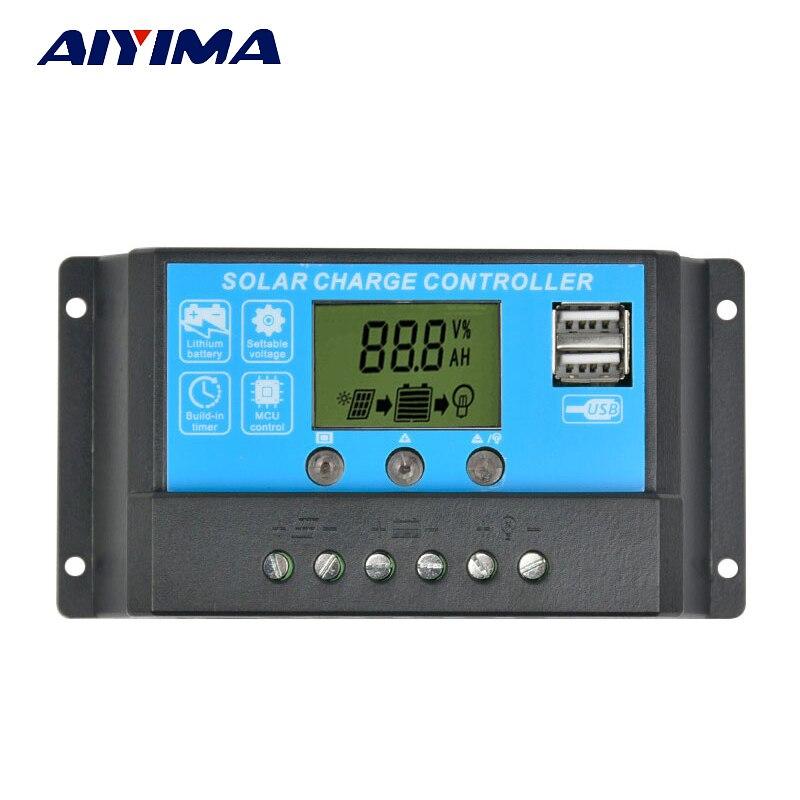 AIYIMA 12V24V15A Flexível Controlador Do Painel Solar Carregador de Bateria Painel Solar Controlador de Regulador de Comutação LCD Displyer