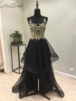 New Design 2018 Black Evening Dresses O Neck Sleeveless A Line Appliques Tulle Floor Length Prom