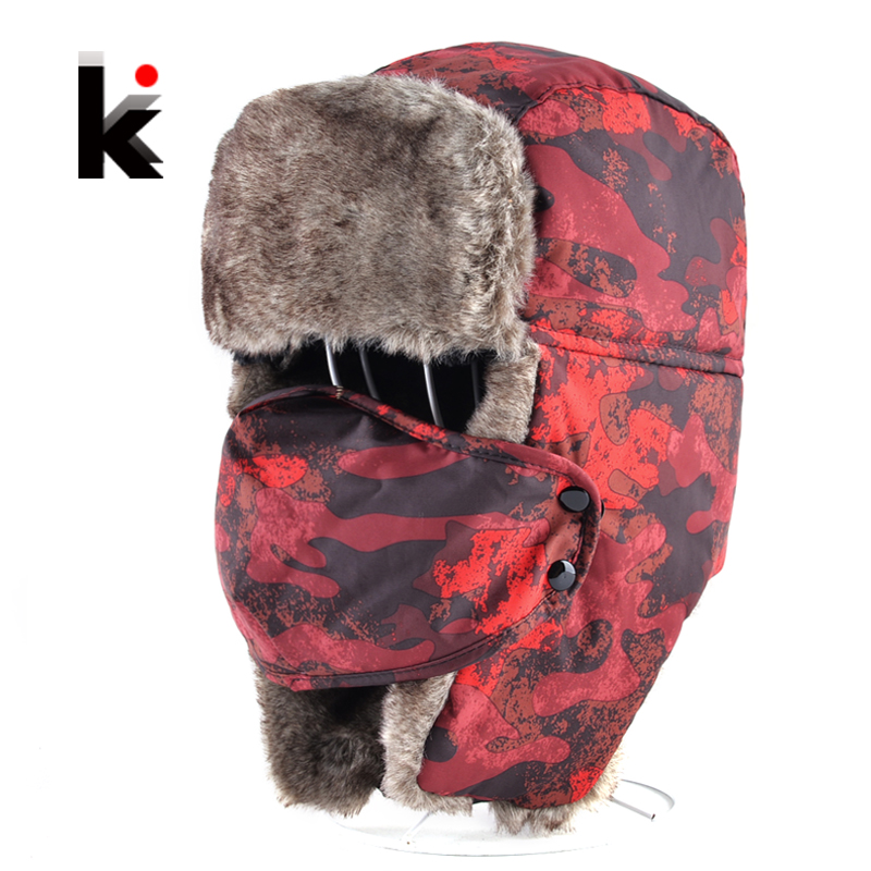2017 Winter Bomber Hat For Men And Women Russian Thick Faux Fur Cap With EarflapS And Mask Classic Unisex Outdoor Camouflage Hat