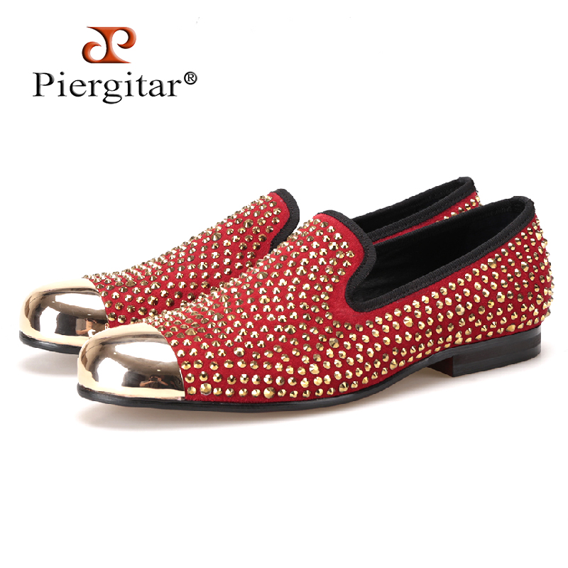 Piergitar Handmade red suede men shoes with gold Rhinestone and gold toe metal Party and Banquet men dress loafers male's flats piergitar new style handmade men navy velvet shoes with gold metal on shoes toe fashion party wedding and banquet male loafers