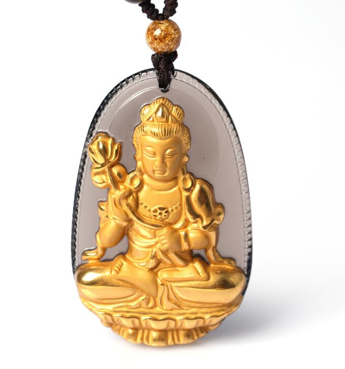 Natural Ice Clear Obsidian Carved Gold color Chinese DaShiZhi Kwan-Yin Buddha Lucky Pendant + free Necklace fashion Jewelry