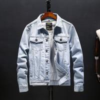 Korean Fashion Letter Print Denim Jacket Trend Youthful Slim Jacket Super Handsome Students Coat Casual Mens Clothing