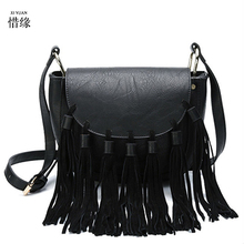 XIYUAN BRAND lady new Korean Retro black shoulder messenger crossbody bag fringed girl Office party shopping hand Diagonal bag
