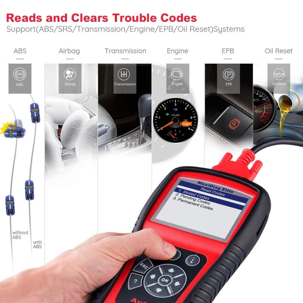 Image 2 - AUTEL MaxiDiag Elite MD802 OBD2 Scanner All System Car Detector OBDII Code Reader EPB Oil Reset OBD 2 Diagnostic Tool PK MD805-in Code Readers & Scan Tools from Automobiles & Motorcycles