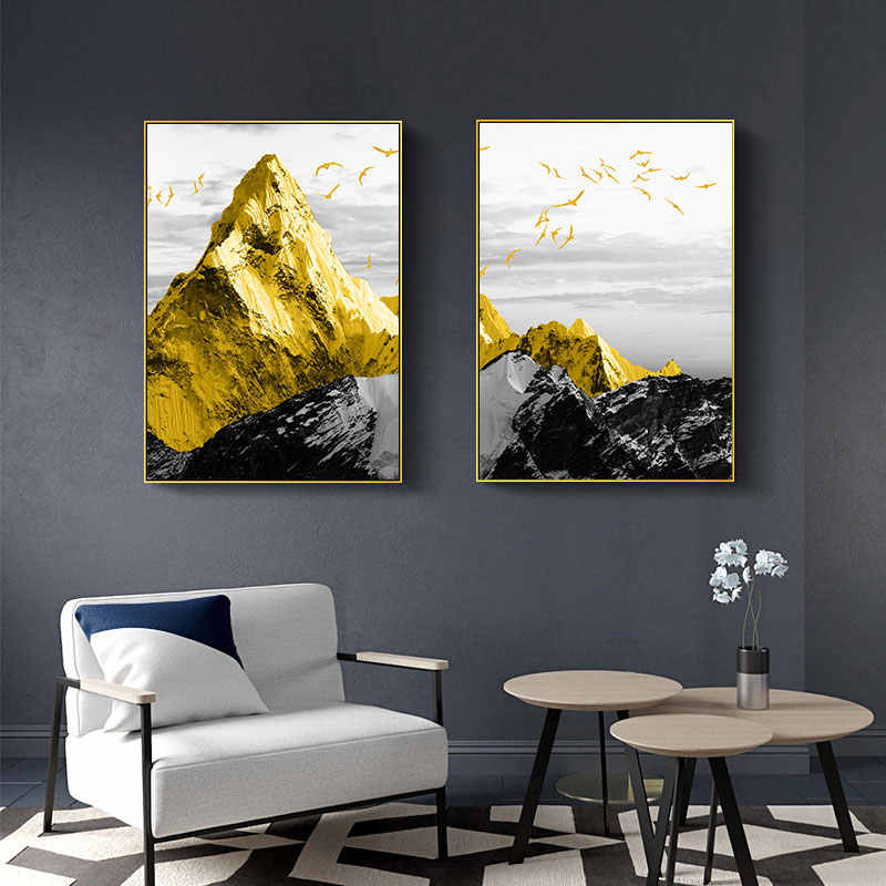 Modern Golden Mountain Abstract Wall Poster Landscape Canvas Print Decorative Painting Contemporary Art Home Decoration Picture