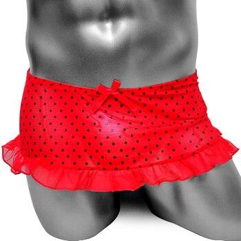 Ruffles Sissy Lace Skirt Panties Underwear Dots Feminine Men Sexy Lingerie Club Wear Gay Mesh Tranparent