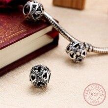 AZIZ BEKKAOUI Auténtico 925 Granos de la Plata Esterlina Del Corazón Del Zircon Beads Fit Pandora Charms Pulsera Corazón Encantos para Hacer La Joyería