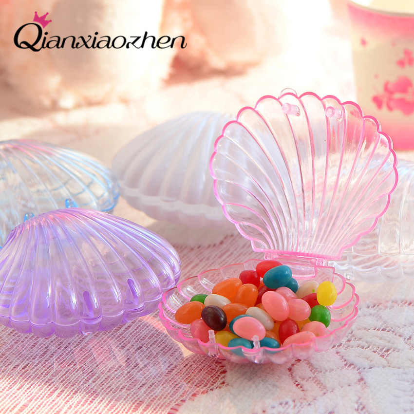 Qianxiaozhen 10pcs Shell Wedding Favor Box Wedding Candy Box Casamento Wedding Favors And Gifts Wedding Decoration Mariage